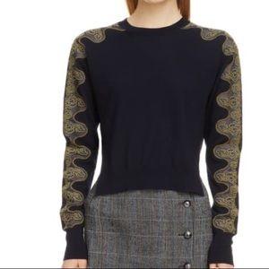 NWOT Chloe lace sleeve wool sweater in navy